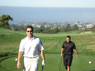 Brian and Scott walking off the tee. I think we all had decent drives on this hole